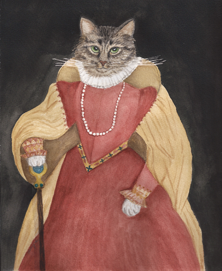animal portrait, cat portrait, cat queen, queen of the cats, elizabethan costume, anthropomorphic, Sloane