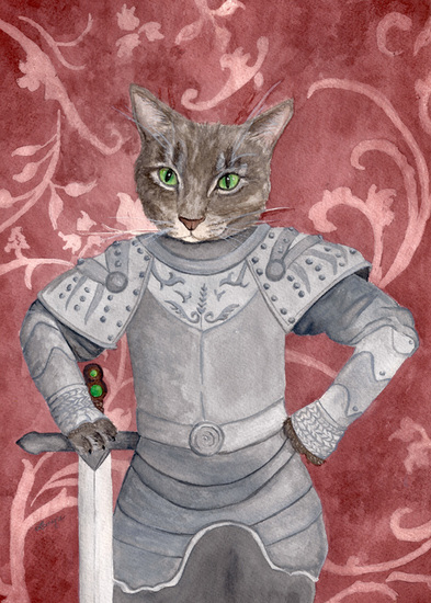 commission, commissioned pet portraits, animal portrait, cat portrait, knight, queen of the cats, elizabethan costume, anthropomorphic, astro,  knight in shining armor