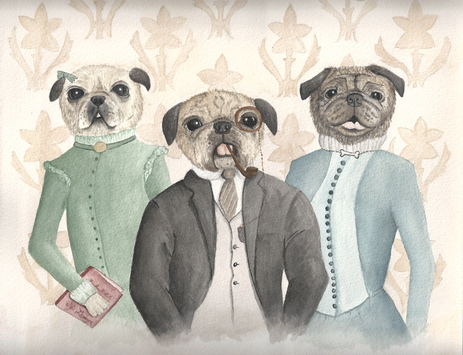pet portrait, pugs, Victorian portrait, animal portrait, watercolor animal painting